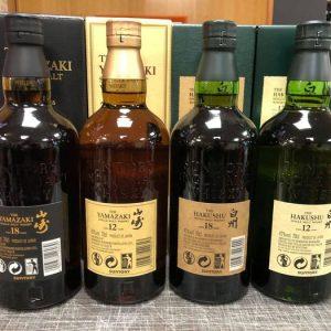 Hakushu, Yamazaki 2x 12 years old & 2x 18 years old – Original bottling – 70cl – 4 bottles