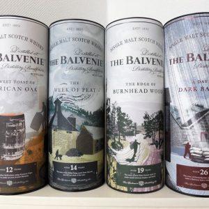 Balvenie Complete Stories Editions: 26y, 19y, 14y & 12y. – Original bottling – 700ml – 4 bottles