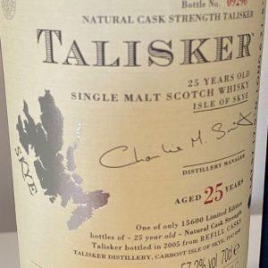 Talisker 25 years old – Original bottling – b. 2005 – 70cl