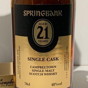 Springbank 21 years old Single Cask for The Netherlands – Original bottling – 70cl