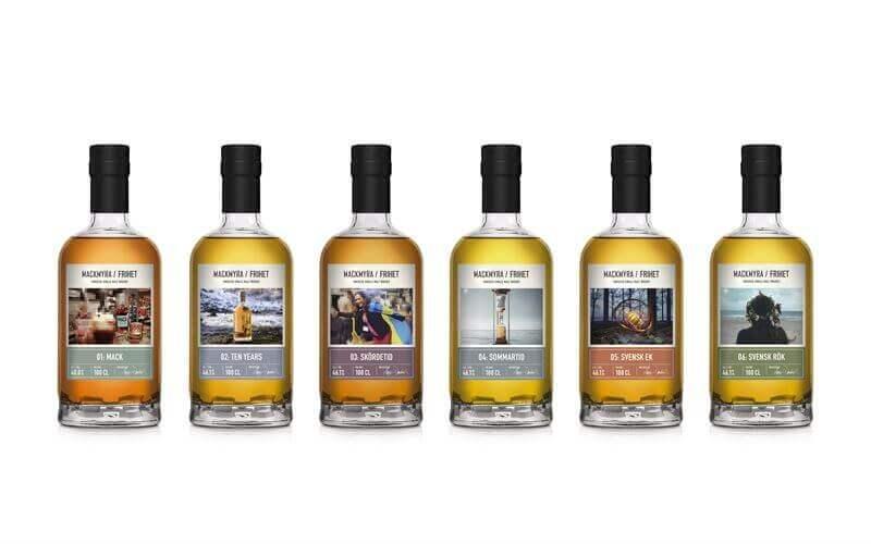 Mackmyra Frihet, en serie whiskyflaskor som pryds av samma bilder som Patent- och marknadsdomstolen vill förbjuda
